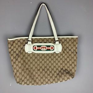 Authentic gucci supreme canvas tote handbag